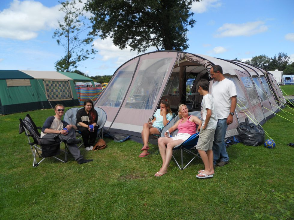 Grass Camping Pitch at Riverside Camping & Caravan Park, South Molton