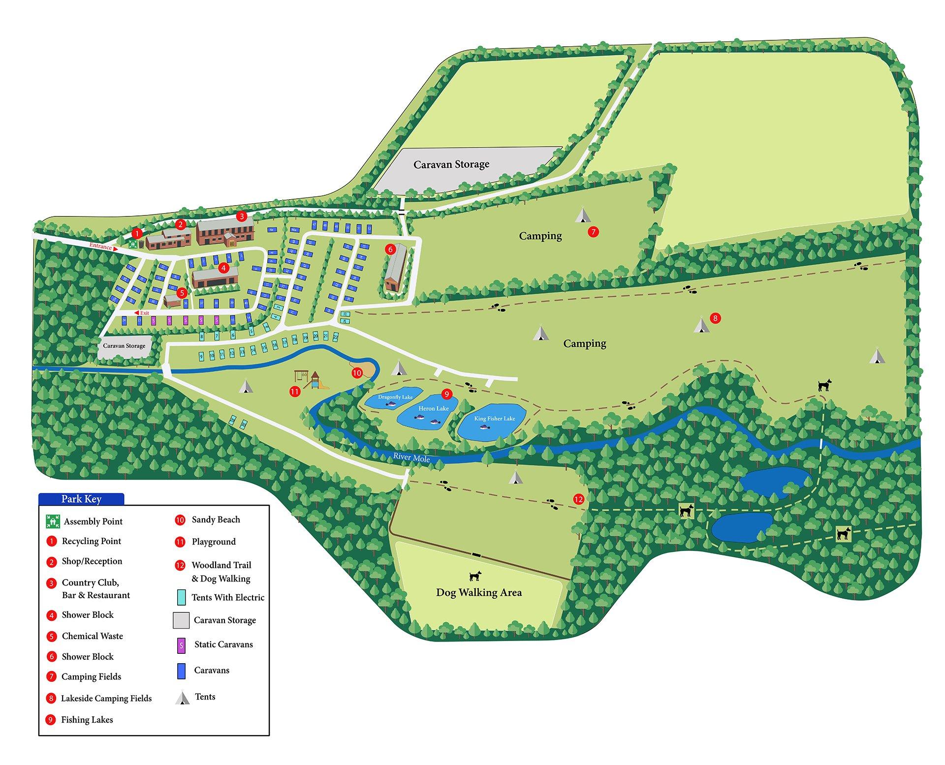 Riverside Caravan & Camping Park & Country Club Park Map